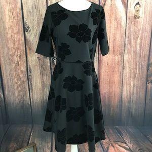 Lands End Size Small Velvet Black Dress